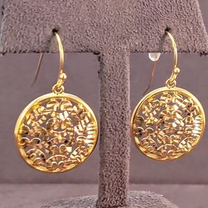 Gold Over Sterling Diamond Cut Round Drop Earrings